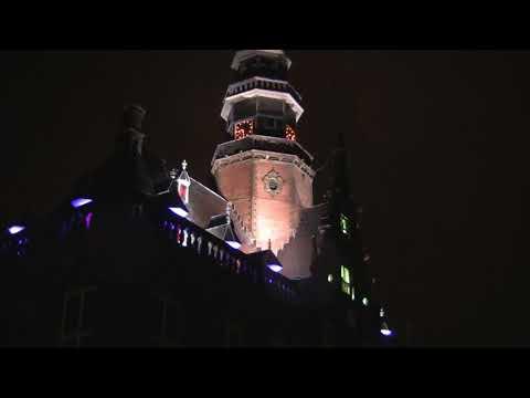Bolsward lichtshow op Stadhuis