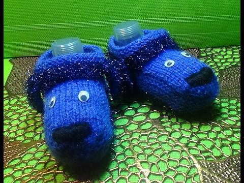 Вязание спицами тапочки-собачки для ребенка трех лет #111