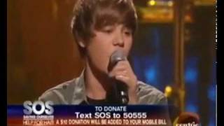 Justin Bieber - One Less Lonely Girl ( French ) @ SOS Help for Haiti - Feb. 5, 2010 HQ