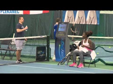 Françoise Abanda takes on Tomas Plekanec in a friendly tennis match