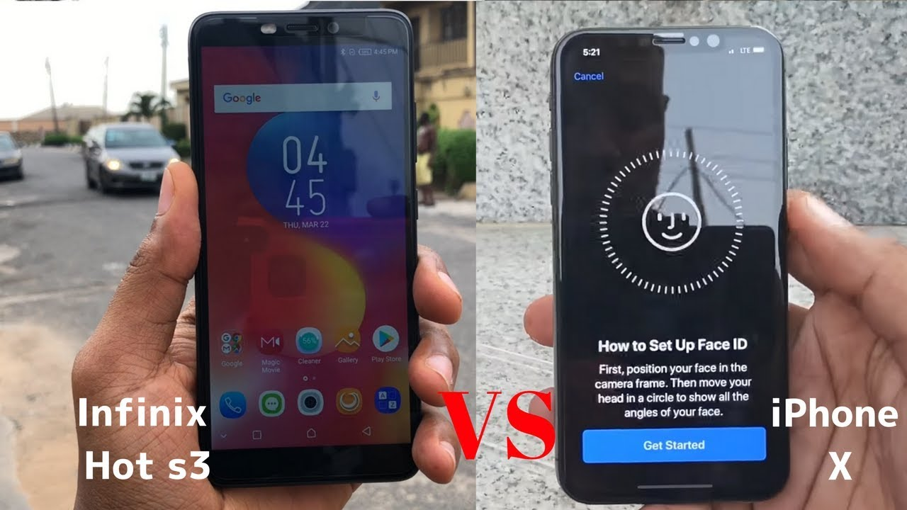 Infinix Hot S3 Face ID vs iPhone X