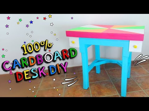 How to convert a CARDBOARD BOX into a FURNITURE - Make a Table DESK for children DIY - Mr.  DIY