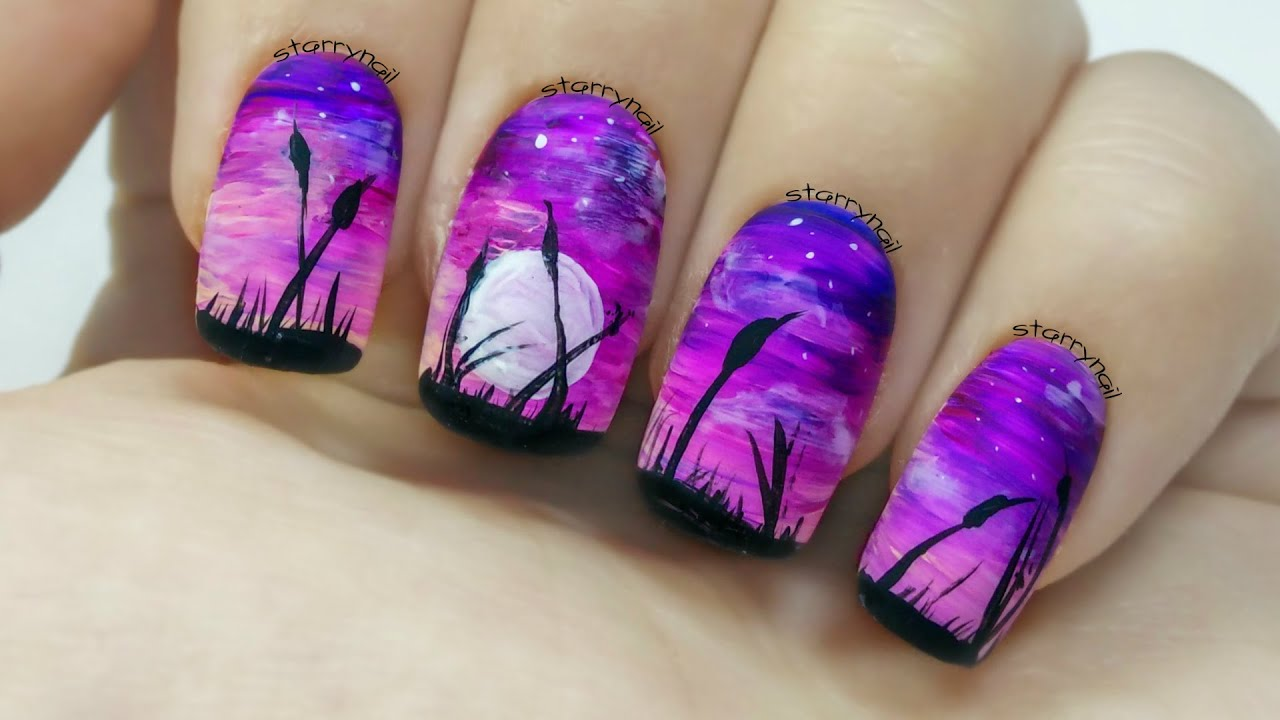 Easy Purple Landscape [Freehand Nail Art] - YouTube