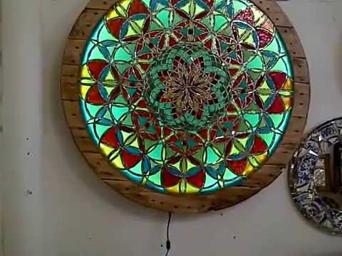 Illuminated Stained Glass Mirror Mosaic Wall Hanging Youtube