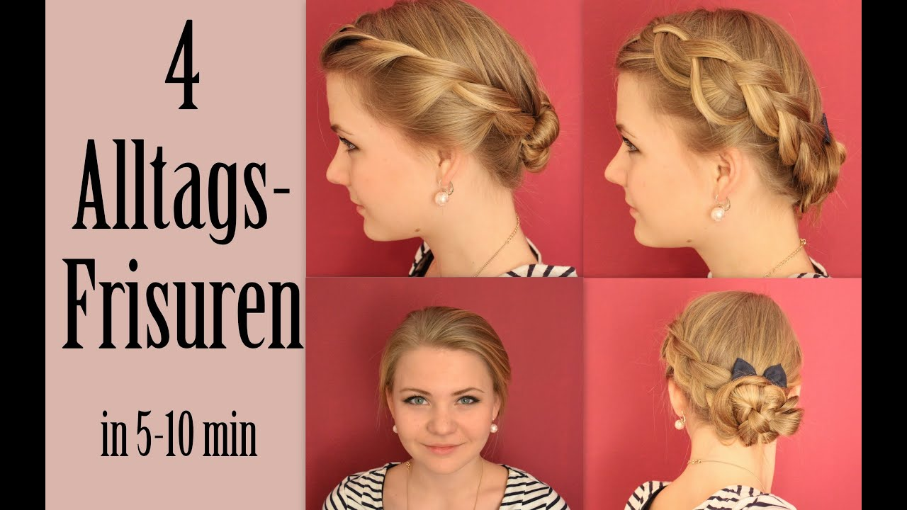 4 Alltagsfrisuren 4 Everyday Hairstyles In 5 10 Min Youtube