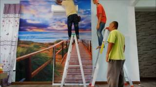 Cara Pasang Stiker Laju / Wall Sticker Mural Wallpaper Installation