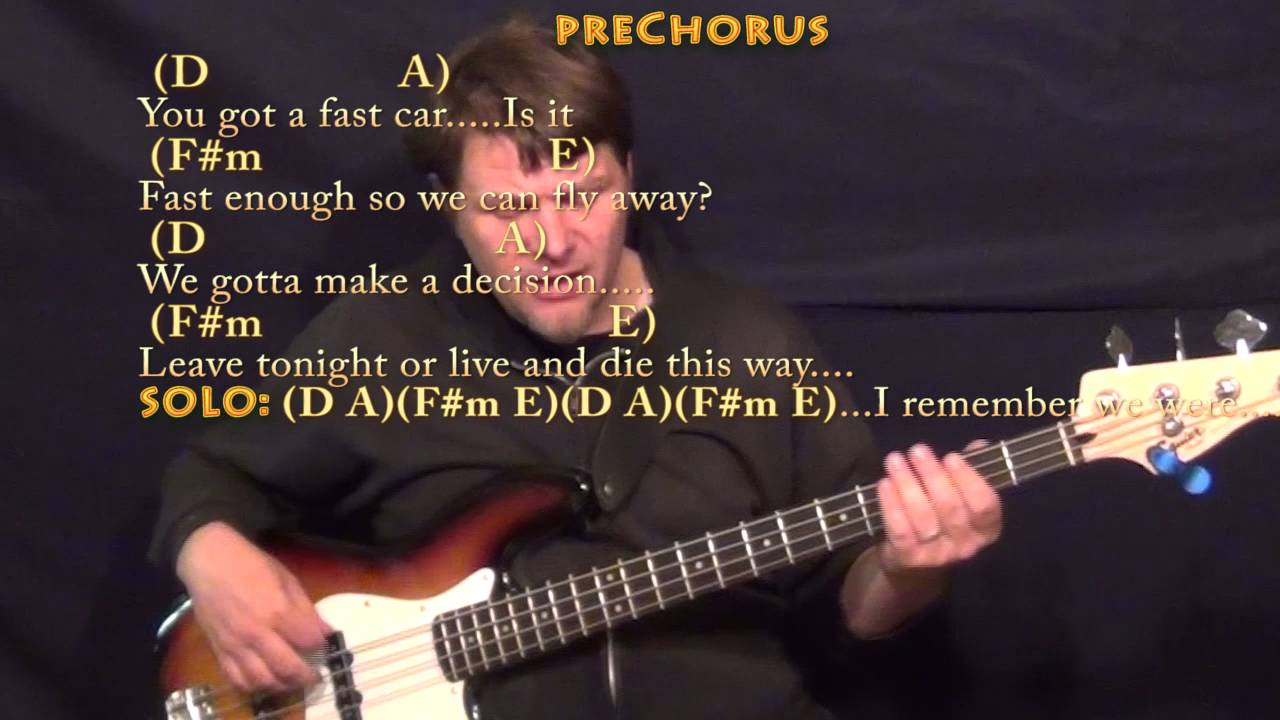 Fast Car Tracy Chapman Bass Guitar Cover Lesson In A With Chords