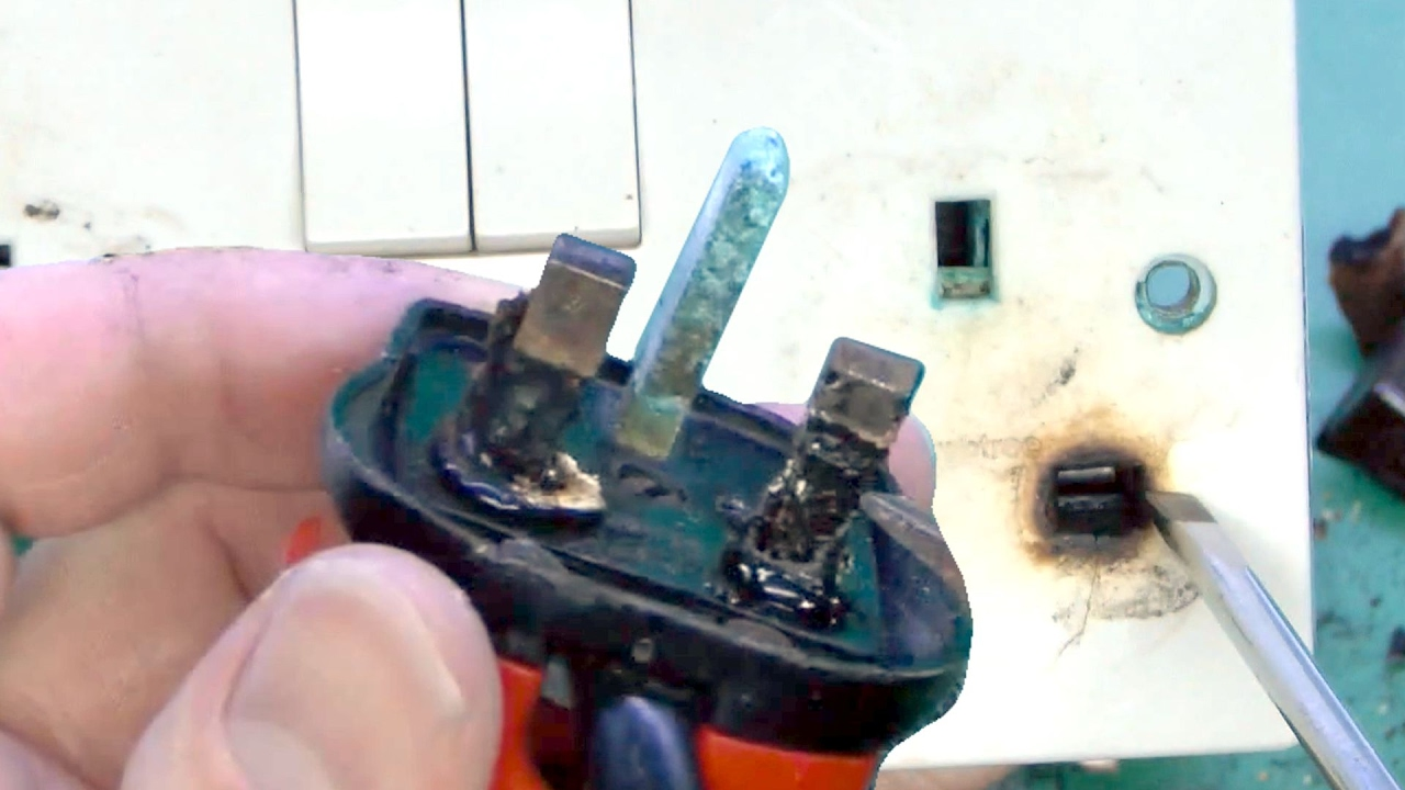 Overheated Plug And Damaged Socket Outlet Youtube Sockets Wiring For Electricity Royalty Free Stock Image