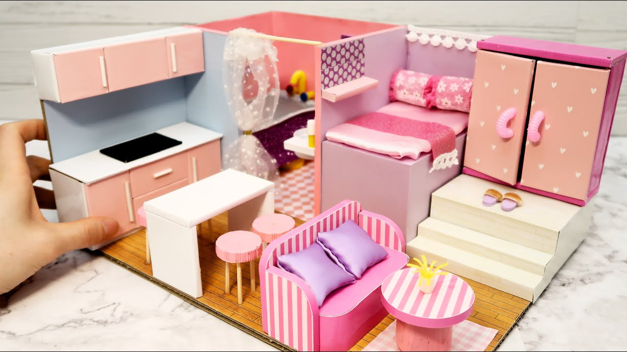 Diy Miniature Cardboard House 18 Bathroom Kitchen Bedroom Living Room For A Family Youtube