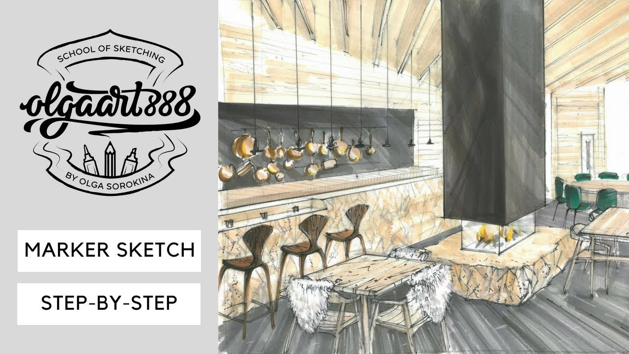 Interior Sketch Step By Step How To Draw Restaurant With Markers Youtube