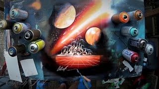 SPRAY PAINT ART - Meteors shower - for 10.000 Subscribers!