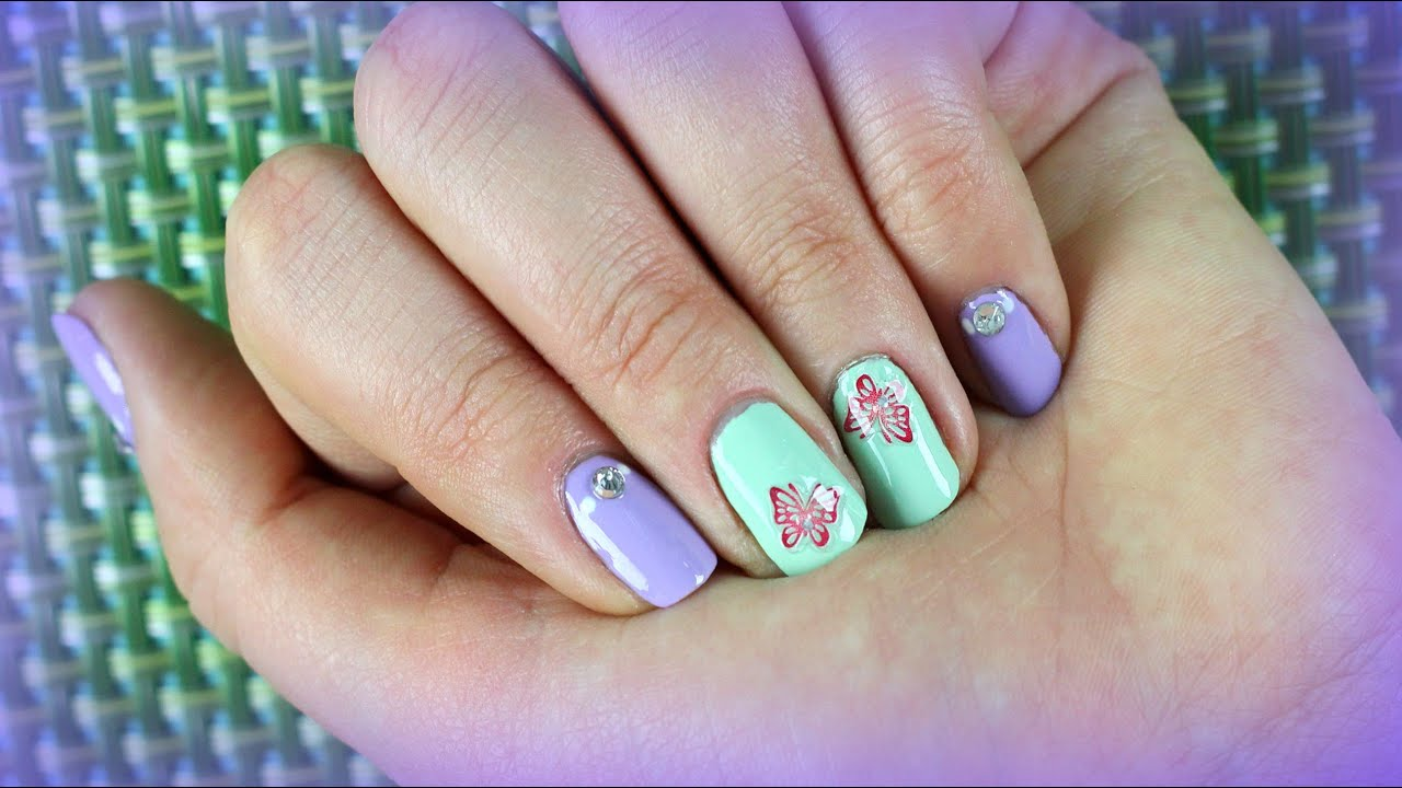 Nail art design for springsummer for short nails with stickers nail art design for springsummer for short nails with stickers youtube prinsesfo Choice Image