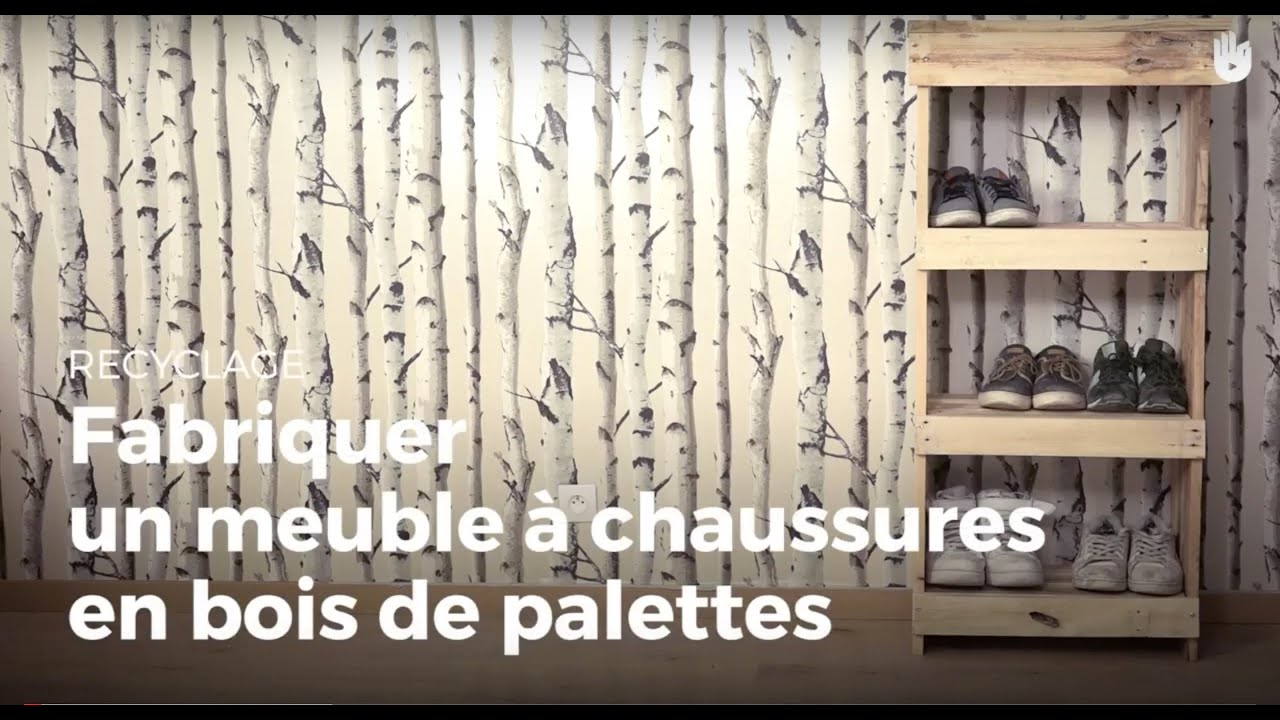 fabriquer un meuble chaussures en bois de palettes recycler youtube. Black Bedroom Furniture Sets. Home Design Ideas
