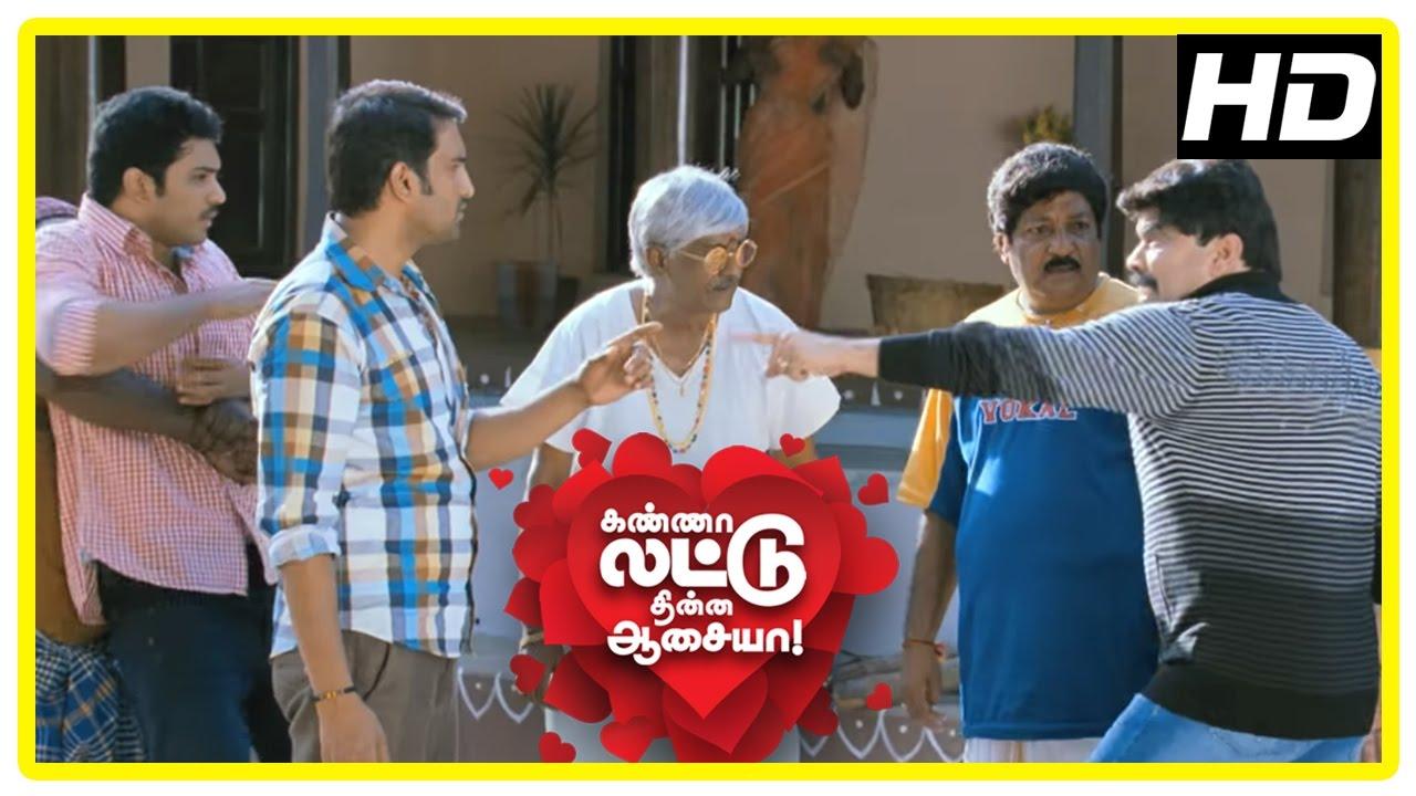 Download Kanna Laddu Thinna Aasaiya Scenes  Sethu, Santhanam and Powerstar fight  Vishaka lies she is in love