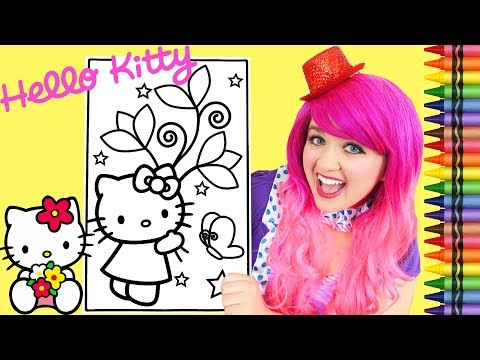 coloring-hello-kitty-spring-flowers-giant-coloring-book-page-crayola-crayons-|-kimmi-the-clown