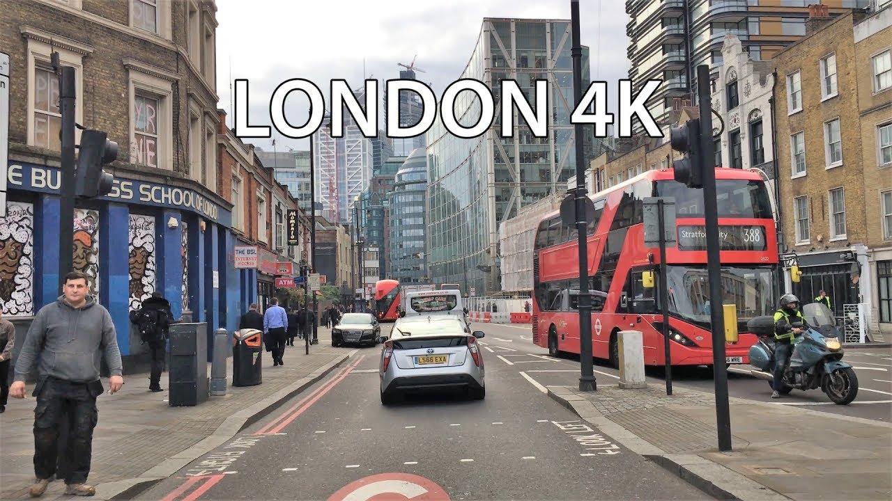 London 4K - Main Street - City Of London - Driving Downtown - England