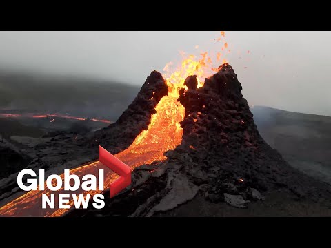 Iceland volcano: Drone footage captures stunning up-close view of eruption