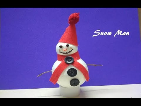 DIY Snowman/Snowman Making form Thermocol Ball/Snowman Making Idea for Kids/Snowman Craft for Kids