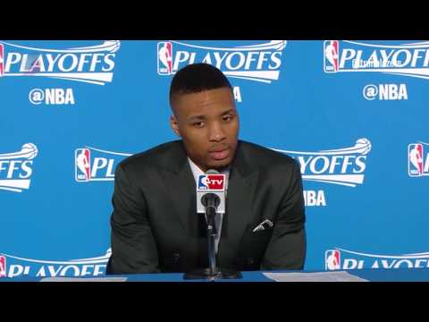 Damian Lillard Takes the Podium Following Game Two Against Golden State