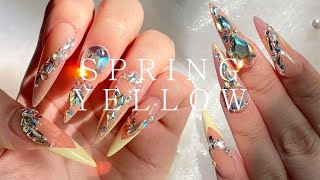 Spring yellow nail💛 easy polygel extension💅 extension nail / asmr