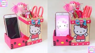 DIY Pen holder with icecream sticks   DIY Desk Organizer With icecream sticks/ Hello kitty organizer