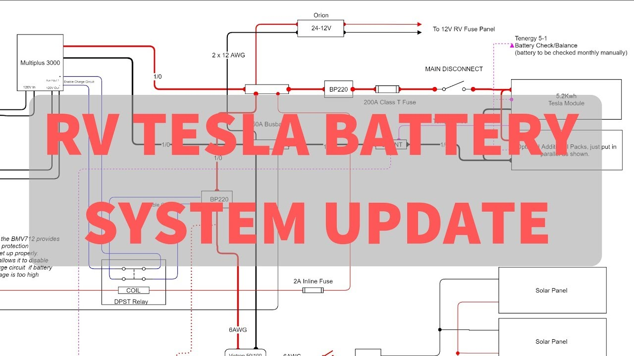 rv tesla battery install system simplification and improvements schematic walk through [ 1280 x 720 Pixel ]