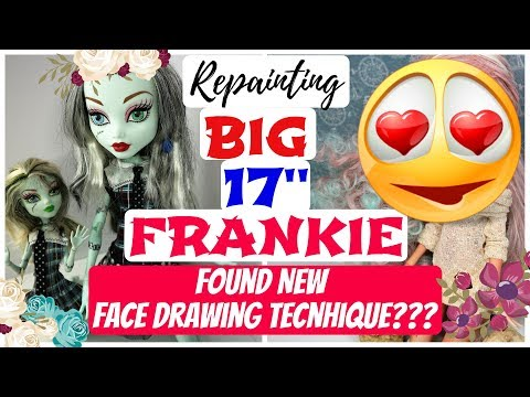 NEW WAY OF DRAWING / REPAINTING BIG 17'' MONSTER HIGH DOLL FRANKIE STEIN #dolls #toys #monsterhigh