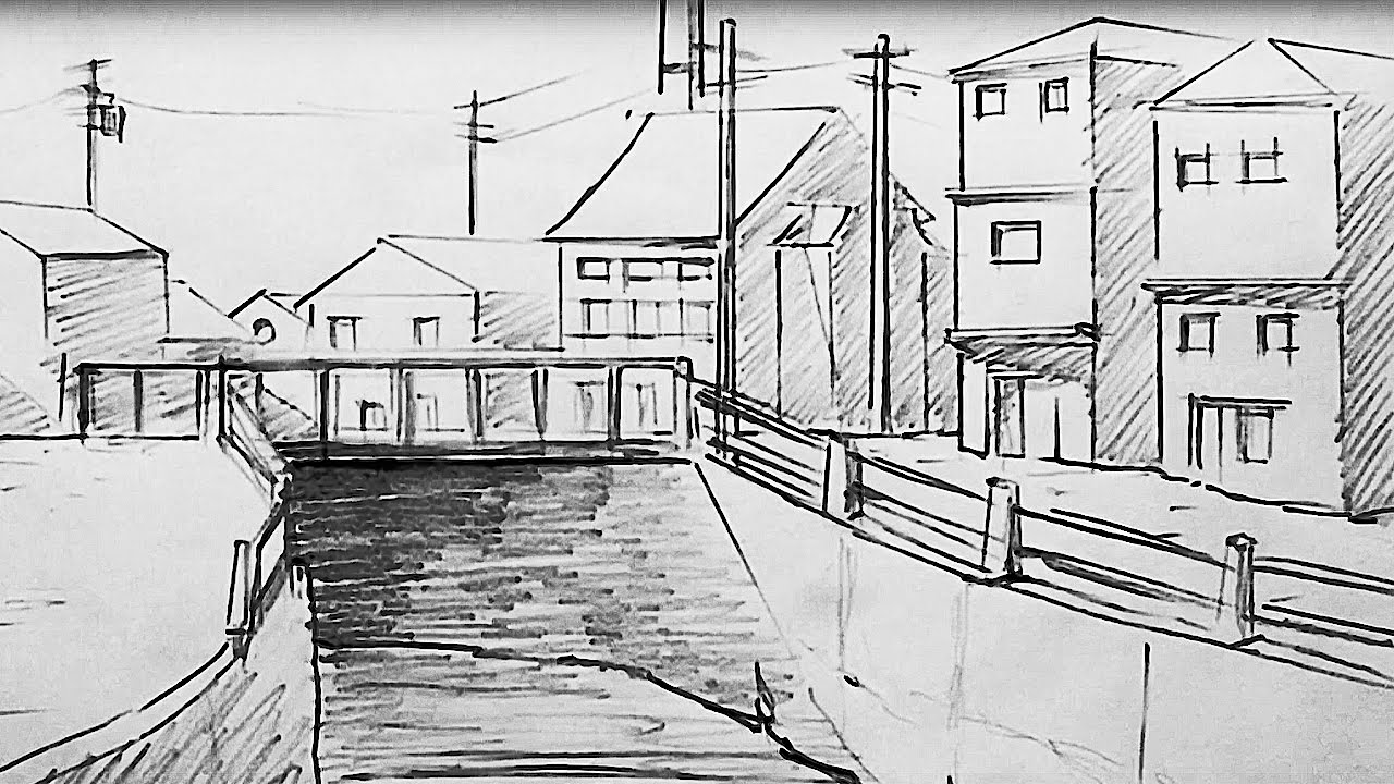 simple perspective scenery speed drawing����������������
