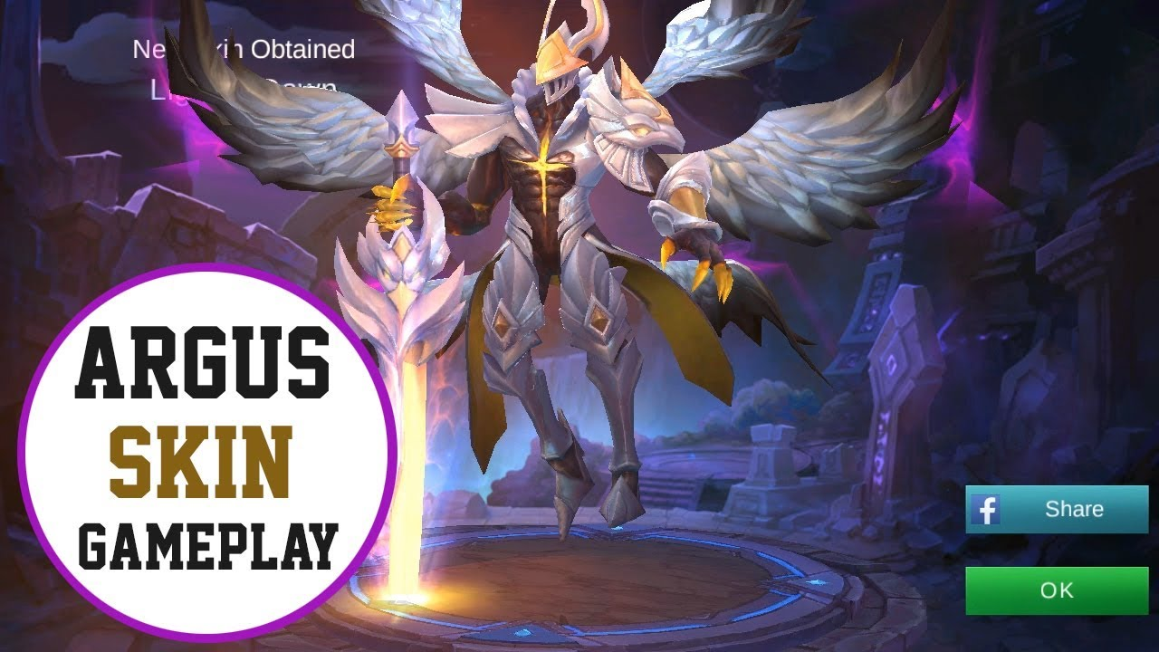 ARGUS NEW SKIN GAMEPLAY LIGHT OF DAWN MOBILE LEGENDS