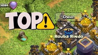 CLÃ ROUBA RINDO NÍVEL 9 PUSH MODE ON - CLASH OF CLANS