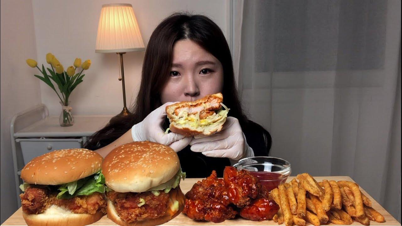 SUB)맘스터치 언빌리버블버거,싸이버거 치파오강정 감자튀김 ...