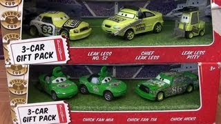 3-Car Gift Pack Disney Cars Collection Leak Less Pitty, Chick Hicks, Mia Tia Pixar by Blucollection
