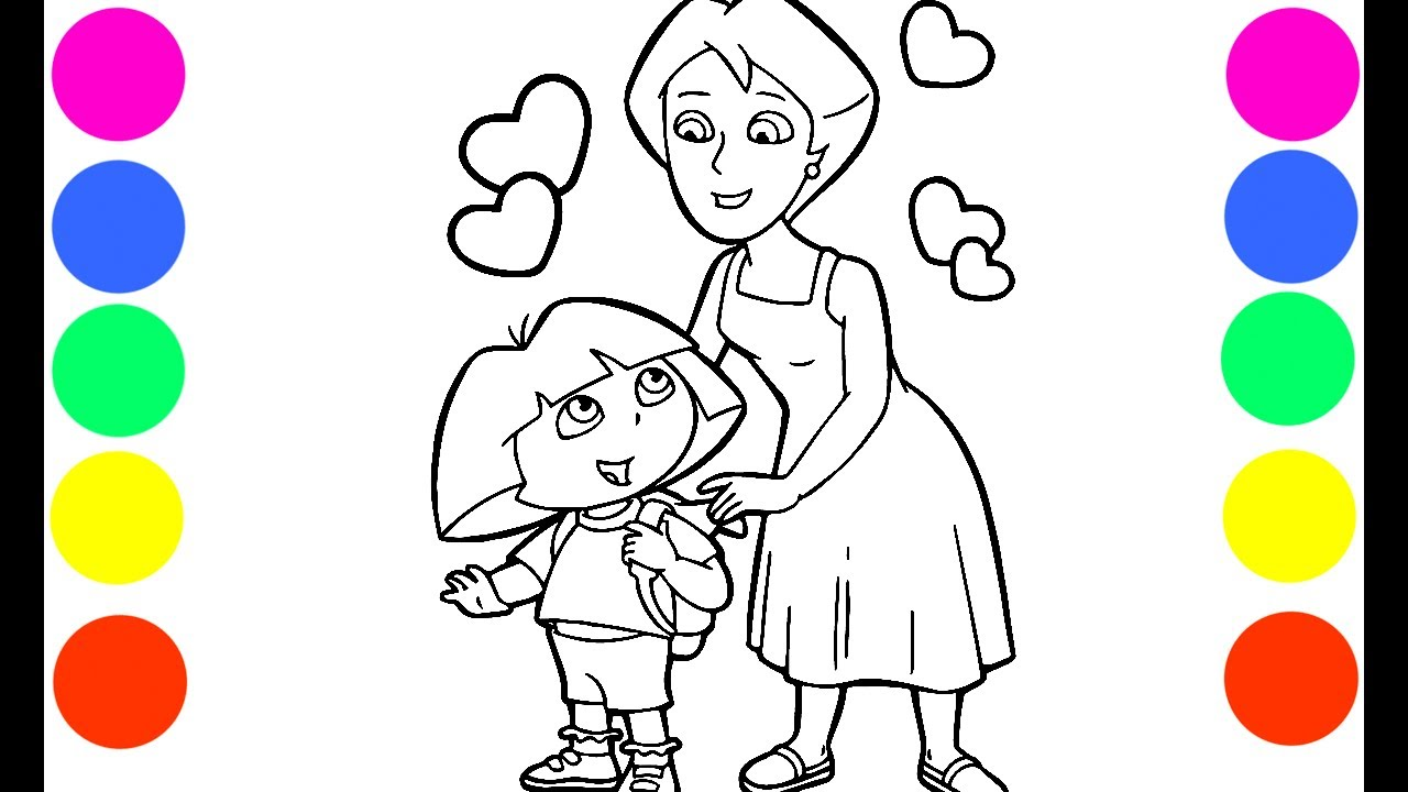 - Dora And Mami Coloring Book Pages Art Colours For Kids With