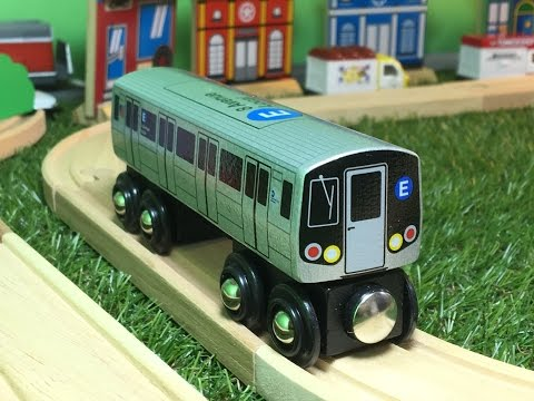 NYC Subway E-Train in motion Munipals Wooden Toy Train (000107)