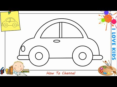 How to draw a car EASY step by step for kids, beginners, children 8