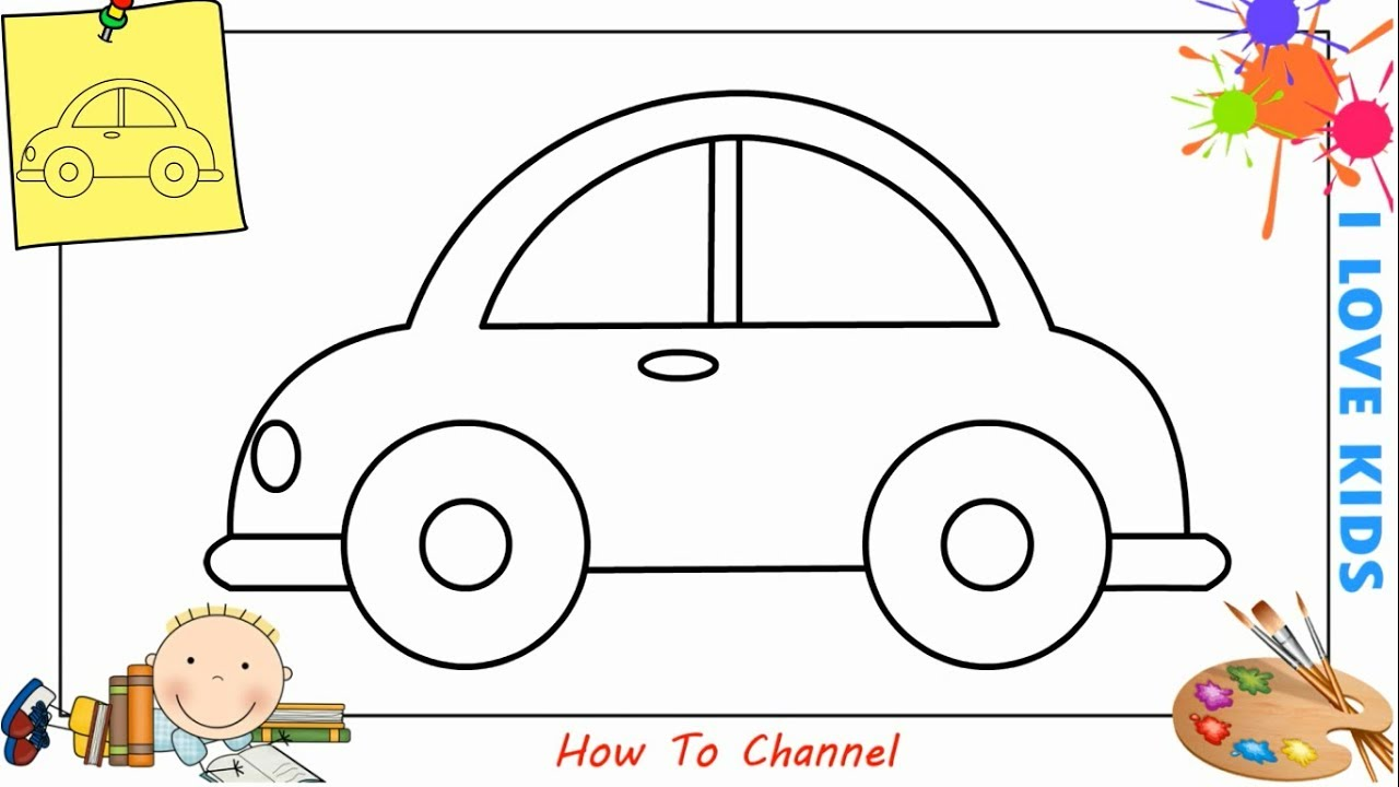 How To Draw A Car Easy Step By Step For Kids Beginners Children 8