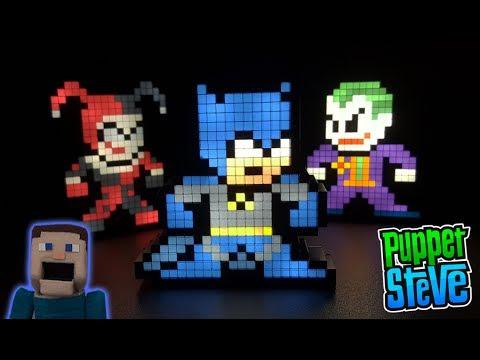 Batman Pixel Pals Joker & Harley Quinn 8- bit Light up Display Figures #13, 14, 15 PDP Toys Unboxing
