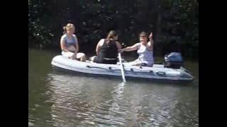 Отдых.Рыбалка.Девушки за рулём моторной лодки