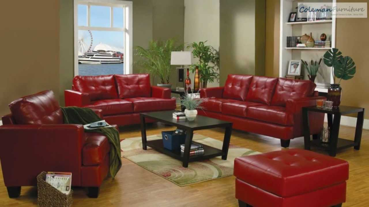 Samuel Red Leather Living Room Collection From Coaster Furniture ...