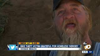 Theft victim thanking homeless heroes