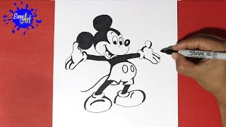 Como Dibujar a Mickey mouse - How to Draw Mickey mouse. Disney channel