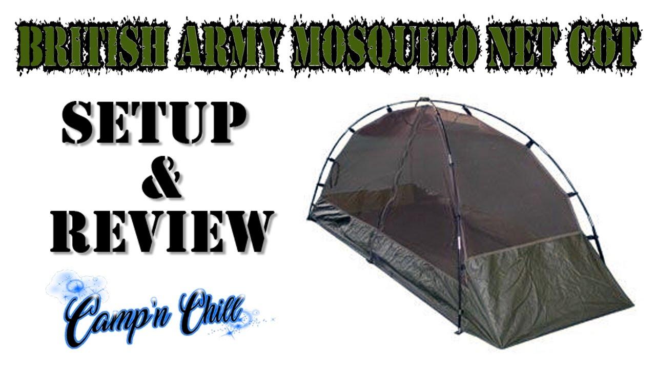 British Army Freestanding Mosquito Net Cot Setup And