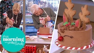 Holly and Phillip Have a Go at Decorating a Reindeer Cake   This Morning