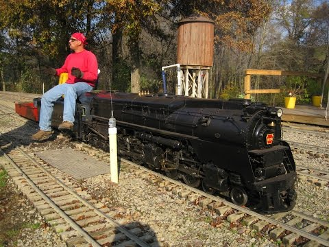 Big live steam locomotives at Mill Creek Central backyard train model