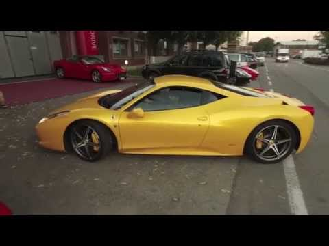 Yellow Ferrari 458 Italia Test Drive at Maranello