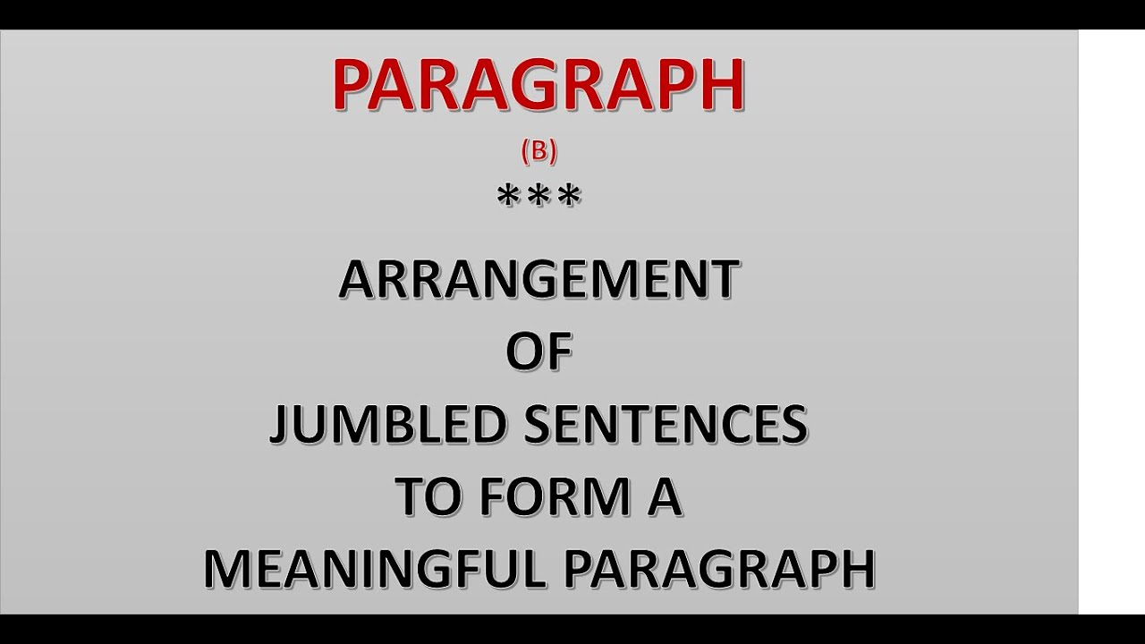 Paragraph2 Arrangement of Jumbled sentences to form a meaningful paragraph  on
