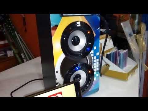 Coluna Portátil Karaoke LED Bluetooth 2x10W