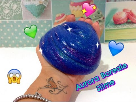 AURORA BOREALE SLIME 💖😱 Northern Light Slime 😱💖 DIY TUTORIAL + ASMR!💖super glitter!italia 😍