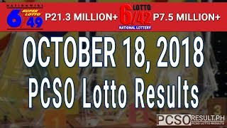 PCSO Lotto Results Today October 18, 2018 (6/49, 6/42, 6D, Swertres, STL & EZ2)