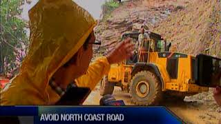 A major landslide on the North Coast Road near the Maracas Lookout ...